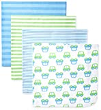 Best GERBER Beddings - Gerber Baby-Boys Newborn 4 Pack Flannel Blanket-Stripes, Blue Review