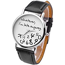 "JSDDE Women Fashion Simple Leather Watch, ""Whatever, I'm late anyway"" Round Case, White Face Black Band"