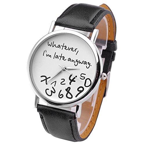 JSDDE-UhrenVintage-Damenmode-Whatever-Im-late-anyway-Graviert-Illusion-Damenuhr-Quarzuhr-ArmbanduhrSschwarz-Weiss