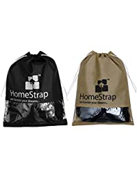 HomeStrap Non Woven Fabric Shoe Pouch / Bag / Organiser With Window - Set Of 24 - Black & Beige