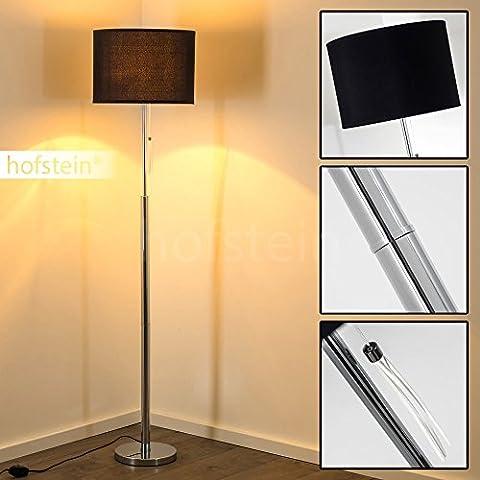 Lampadaire variateur Denver avec socle et pied en métal chromé ainsi qu'un abat-jour en tissu noir – Luminaire de salon de style classique parfait comme lampe de lecture sur pied ou éclairage d'appoint