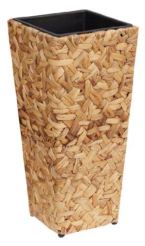 GARTENFREUDE Pflanzkübel Pflanzgefäße Blumenkübel Blumentopf für Blumen etc. mit Wasserhyazinthe 28 x28 x 60 cm, wasserdichter Kunststoffeinsatz, naturfarben