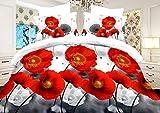 AmeliaHome 91463 Bettwäsche 135x200 cm mit 1 Kissenbezug 80x80 Bettwäscheset Bettbezüge Microfaser Bettwäschegarnituren Reißverschluss Blume Blumen Blumenmuster Magaret weiß rot