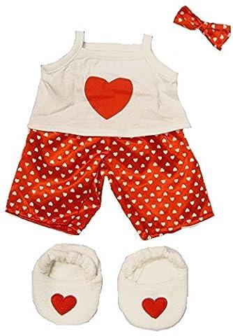 Costumes Ours Outfit - Satin Rouge Cœur polaire avec pantoufles pyjama