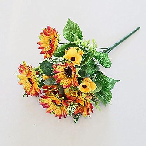 GWZ,Fascio singolo mazzo di seta mazzi di giallo girasole girasoli simulazione floreale decorativo fiore fiori artificiali collocati composizioni floreali , A LINXIANBISHUIYIYUAN