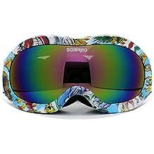 Gafas de esquí y snowboard para niños (3–7 años de edad), doble capa, antivaho, antirrotura, UV 400, grandes, esféricas y flexibles, para niños y niñas, niña Infantil Niños, C010