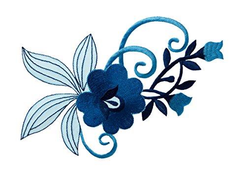 Aufnäher/Bügelbild - Blume Blumenornament - blau - 17,5x11cm - Patch Aufbügler Applikationen zum aufbügeln Applikation Patches Flicken -