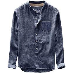 Linkay Homme Chemisier Homme Manche Courte Été Hauts Automne Hiver Bouton Décontracté T-Shirt en Lin et Coton à Manches Longues Chemisier Mode 2019 (Bleu, L)