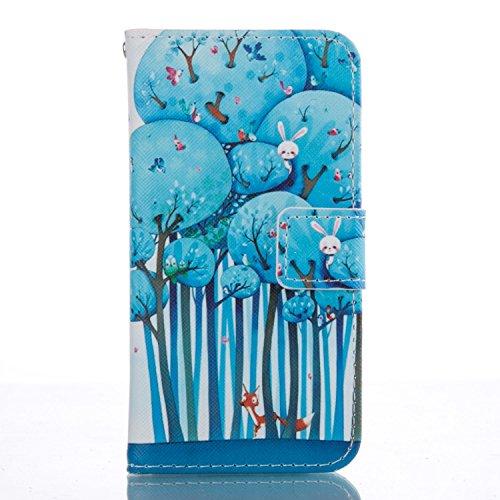 Galaxy A3 2016 Hülle, Galaxy A3 2016 Hülle Ledertasche Brieftasche handyhülle im BookStyle, SainCat PU Leder Wallet Case Folio Schutzhülle Painted Muster Hülle Bumper Handytasche Skin Schale Soft Back Wald