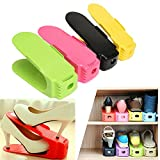 #8: Inovera (Label) Shoe Sandals Footwear Organiser Space Saver Rack - Set Of 6 (Assorted Colour)