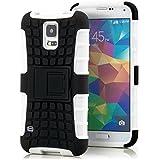 Saxonia Outdoor Silikon Schutzhülle für Samsung Galaxy S5 / S5 Neo Hybrid Case Handyhülle Schwarz-Weiß