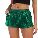 Pailletten Shorts Luckycat Shorts Damen Sommer Locker Hohe Taille Einfarbige Tasche Leder Shorts Hose Sommerhosen Pants Hosen (Grün, Medium)