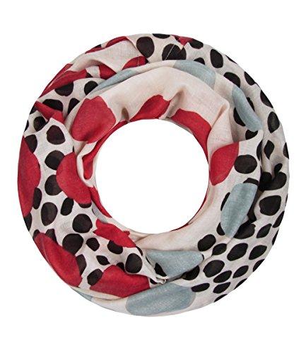 Majea super weicher Damen Loop Schal viele Farben Muster Schlauchschal Halstuch in aktuellen Trendfarben (grau 25) (Grau Viskose)