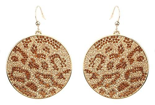 Zest Swarovski Kristall Scheiben-Ohrringe für gepiercte Ohren Gold Farbige & Bronze -