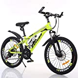 XYUJIE Bicicletta per Bambini 20-22-24-26 Pollici di Vernice Ammortizzante all'Interno dei Freni A Disco Mountain Bike,Yellow-22inches