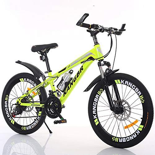 XYUJIE Kinderfahrrad 20-22-24-26 Zoll Stoßabsorbierende Farbe Im Inneren Der Scheibenbremse Mountainbike,Yellow-22inches