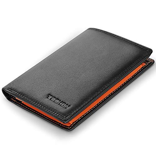 Portafoglio uomo brifold vera pelle blocco rfid, con tasca portamonete, 12 porta carte di credito, 2 scomparti banconote, finestra id, teehon verticale slim portafogli - nero e arancione