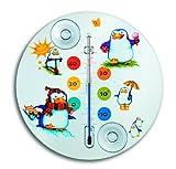 TFA Dostmann Pinguin Analoges Fensterthermometer, Ideal fürs Kinderzommer, leichte Montage mit Saugnäpfen