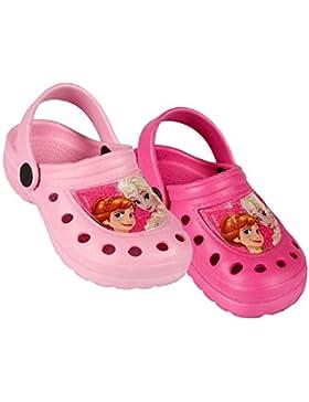 Frozen Disney Zuecos Tipo Crocs Color Rosa o Fucsia - Crocs Elsa y Anna