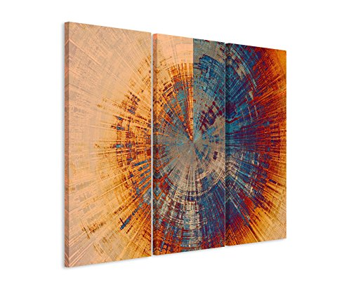 Paul Sinus Art 3 teiliges Leinwand-Bild 3x90x40cm (Gesamt 130x90cm) Vintage Gemälde eines Baum Querschnitts auf Leinwand exklusives Wandbild moderne Fotografie für ihre Wand in vielen Größen
