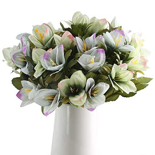 Vera-lavendel-kollektion (GTIDEA Künstliche Lilienblumen Zweig Kunstseide Blumensträuße für drinnen und draußen, für Zuhause, Küche, Bauernhof, Dekoration, 4 Stück)