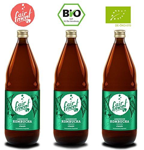 Bio-Kombucha Tee Getränk (3x 0,75 Liter/unpasteurisiert / Grüner Tee/Fermentiert von Fairment®) ...