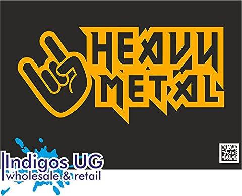 INDIGOS UG - Aufkleber / Autoaufkleber - JDM / Die cut - Heavy Metal Hardcore Trash Guitar Drums - 190x90mm orange