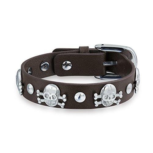 Bling Jewelry cráneos de cuero marrón Pulsera Acero Crossbone hebilla del cinturón