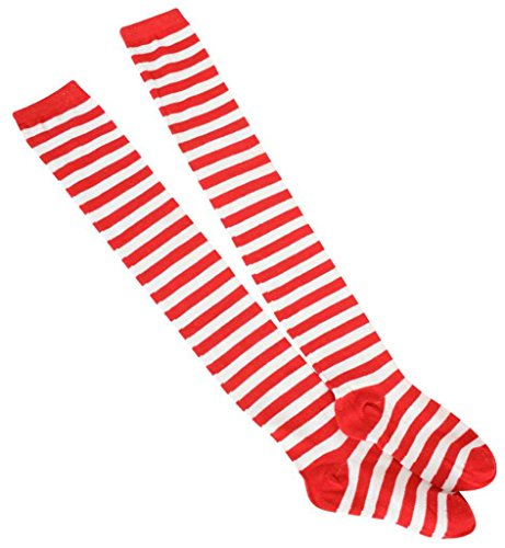 Preisvergleich Produktbild Overknees,  für Erwachsene,  Ringelstrümpfe rot / weiß,  2 Varianten,  Karneval,  Mottoparty,  Kostümzubehör,  Kniestrümpfe,  halterlose Strümpfe (One Size)