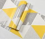 KYKDY Tapeten Supermarkt Modernen nordischen Europa geometrische Tapeten Rollen Blau Grau Gelb Gitter Kontakt Papier für Hintergrund Wohnzimmer Schlafzimmer Mauern, Kr2901 Gelb, 53 CM X 10 M