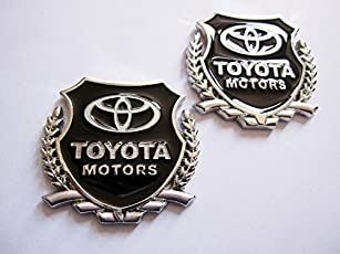 2pc Toyota Motors SILVER Car 3D Metal Grille Trunk Badge Decal Logo
