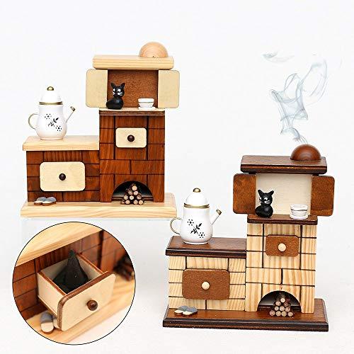 Unbekannt Sigro Räucheröfen mit Pantoffeln und Katze Räucherstäbchen Raucher Figur, 15x 7,5x 14cm, Natur/braun