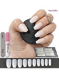 500 faux ongles, 10tailles–Coque opaque pour les salons de vernis à ongles et les nail arts ♥ Colle gratuite ♥ Petite lame de préparation ♥