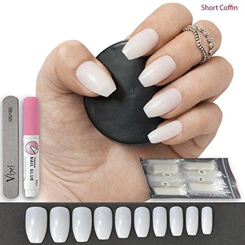 100künstliche Nägel, 10Größen–komplett blickdichte Nägel für Nagel-Salons & DIY-Nailart, inkl. Kleber und kleine Feile