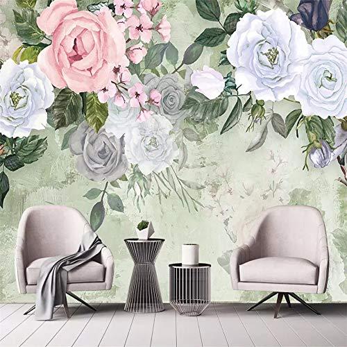 Fototapete 3D Effekt Tapete Weinlese Hand Gezeichnete Rose Einfach Vliestapete 3D Wallpaper Moderne Wanddeko Wandbilder