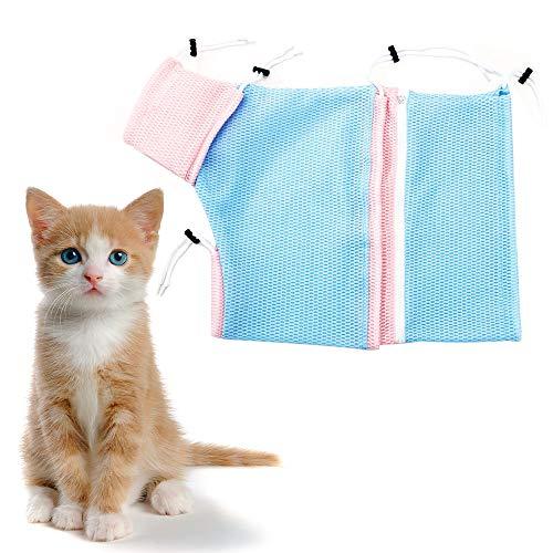 FineInno Katze Pflege Tasche Haustier Mesh Fellpflege Tasche Cat Grooming Bag Katze Badetasche Polyester-Ineinander Greifen-Tasche Fuer Dusche,Reinigungs-Ohr,Ausschnitt-Naegel,Medizin-Fuetterung (rosa,blau,gewöhnlich) (Medizin Gewöhnliche)