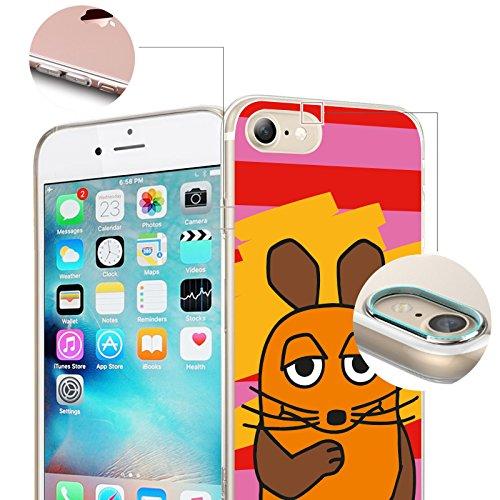 FINOO | Iphone SE Silikon-Handy-Hülle | Transparente TPU Cover Schale | Tasche Case mit Slim Rundum-schutz | stoßfester dünner weicher Bumper | Sendung mit der Maus Motiv | Maus schwarz Maus klein