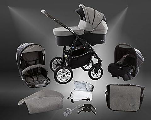 Milk Rock Baby Macano S Kinderwagen Ganzjahres-Set (Winterfußsack, Sonnenschirm, Autositz & Adapter, Regenschutz, Moskitonetz, Schwenkräder) MO70 Black / Black