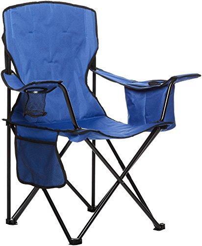 AmazonBasics - Campingstuhl mit Kühlfach, Blau, Gepolstert