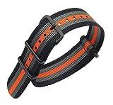22mm Noir/Gris/Orange Premium de Style NATO Robuste Poignet Hommes Sport en Nylon Exotique Bracelet Bracelet