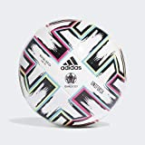 adidas UNIFO LGE J290 Soccer Ball, Boys, White/Black/Signal Green/Bright Cyan, 5