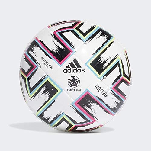 adidas Boys UNIFO LGE J290 Soccer Ball, White/Black/Signal Green/Bright Cyan, 4