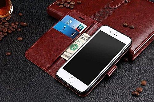 iPhone Case Cover Étui pour iPhone 7 Plus, Étui en cuir PU rétro Étui pour portefeuille en couleur unie Étui de protection pour coquille avec sangle pour iPhone 7 Plus ( Color : Blue , Size : IPhone 7 Rose