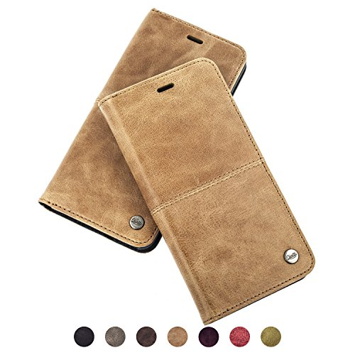 "QIOTTI > Apple iPhone 6 PLUS / 6S PLUS (5,5"") < incl. PANZERGLAS H9 HD+ Geschenbox Booklet Wallet Case Hülle Premium Tasche aus echtem vegetabil gegerbtes Kalbsleder mit Kartenfächer in BRAUN. Edel verpackt incl. Stoffbeutel. (Kalbsleder Braunes Geldbeutel)"