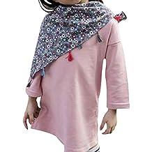 Eizur Bambini Ragazze Sciarpa Cotone Ragazza Scialle O Ring Scaldacollo con Nappa per Primavera / Autunno / Inverno Taglia 78*78cm - Tipo B