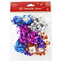 Card and Party Store 20 Pack Christmas Assorted Metallic Bows Presents Gift Kids Wrap Decoration Xmas