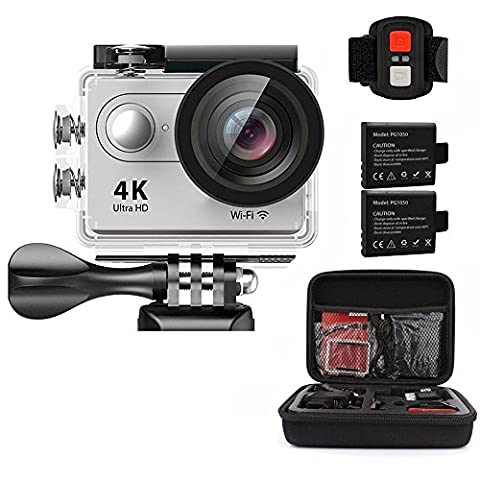 AEDILYS 4K WIFI Sports Action Camera Ultra HD Waterproof DV Camcorder 12MP 170 Degree Wide Angle 2 inch LCD Screen / 2.4G Remote Control-White