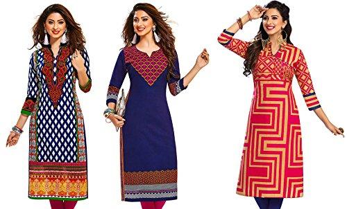 Jevi Prints Women's Kurti Fabrics (Pack Of 3) (Saheli-1401-1414-1526_Multi-Coloured)