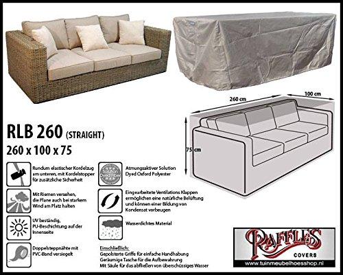 RLB260straight Hülle für Lounge Bank, Rattan Gartensofa oder Lounge Sofa, 2 - 3 Personen, passt am besten am Sofa von max. 260 x 95 cm. Schutzhüllen für Bank, Schutzhülle für...