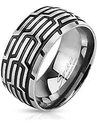 Paula & Fritz anillo de acero inoxidable acero quirúrgico 316L plateado y negro 10 mm de ancho neumáticos disponibles anillo tamaños 60 19 modelo - 72 23 R-M3163